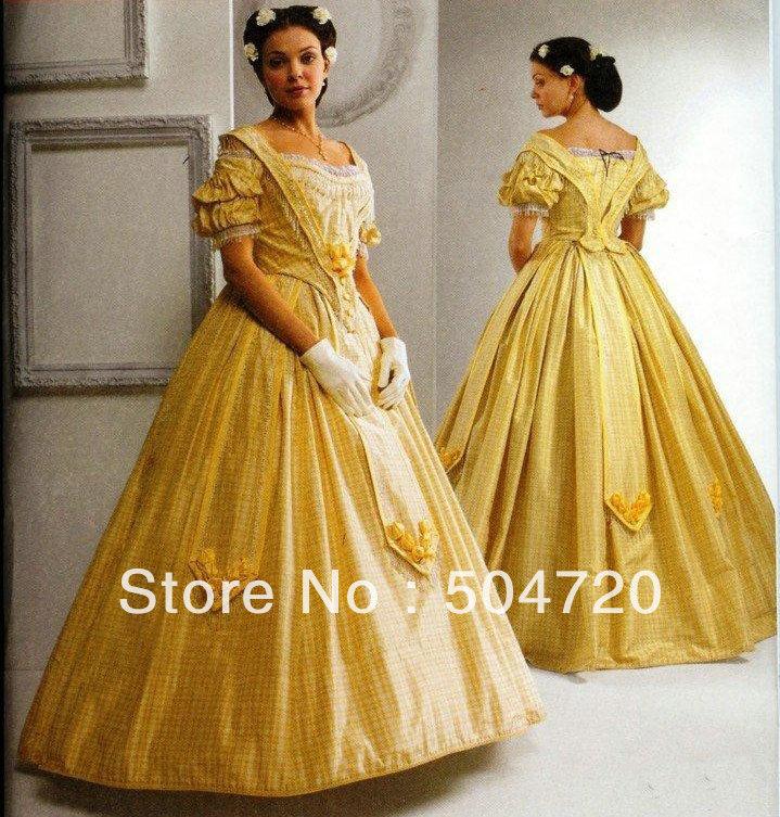 1860s Yellow Civil War Southern Belle Ball Gown evening Dress ...