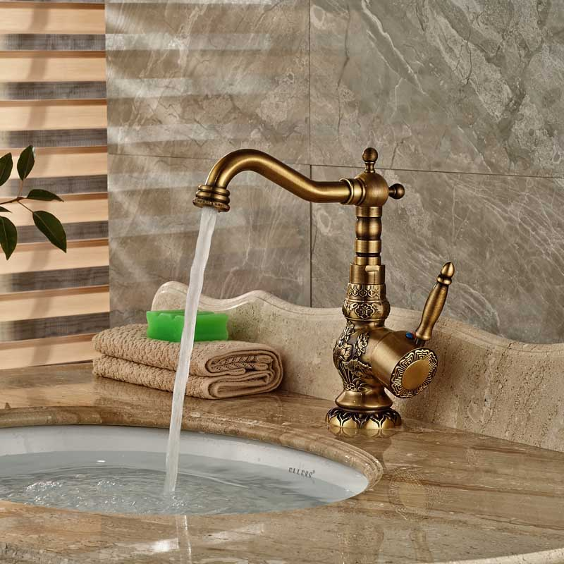Wholesale and Retail Antique Brass Deck Mounted Basin Sink Countertop Mixer Faucet wholesale and retail chrome finish bathroom wall mounted basin sink countertop faucet