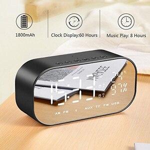 Image 3 - LED ساعة تنبيه مع راديو FM سماعة لاسلكية تعمل بالبلوتوث المتكلم دعم Aux TF USB الموسيقى لاعب ل مكتب غرفة نوم