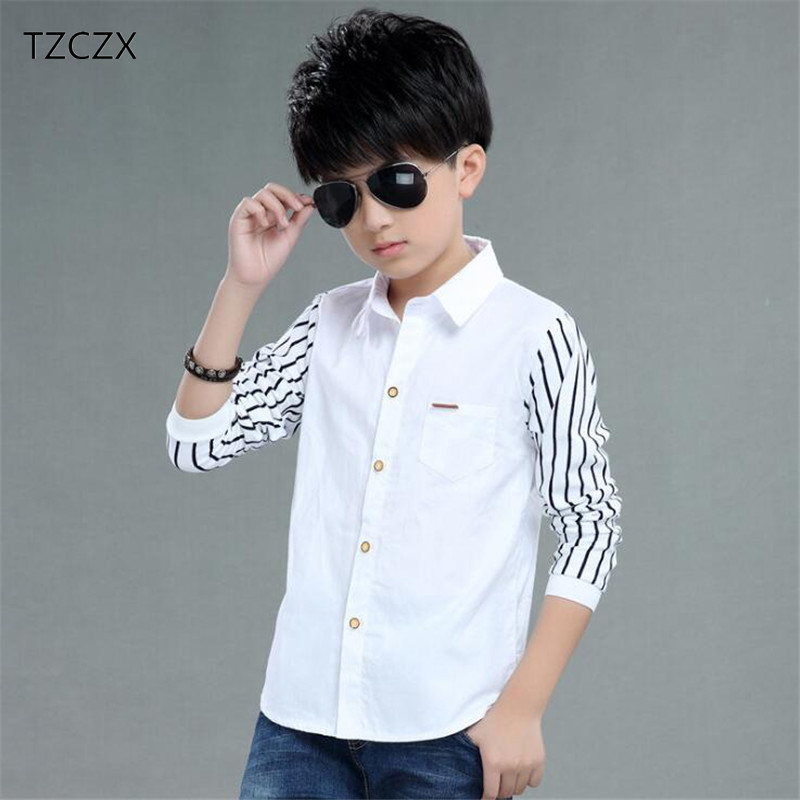 TZCZX-2430 New Spring Children Boys Shirt Fashion Striped long sleeve Turn-Down Collar Shirt For 4-12 Years Old Kids Wear turn down collar geometric print slimming long sleeve men s button down shirt