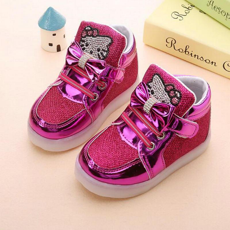Zapatos de los niños 2017 Nueva Primavera Hello Kitty Rhinestone Zapatos Led Princesa Linda Zapatos Con Luz UE 21-30