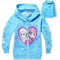 Colores de hielo fleece niños de algodón de manga larga T-shirt chaqueta con capucha de las niñas
