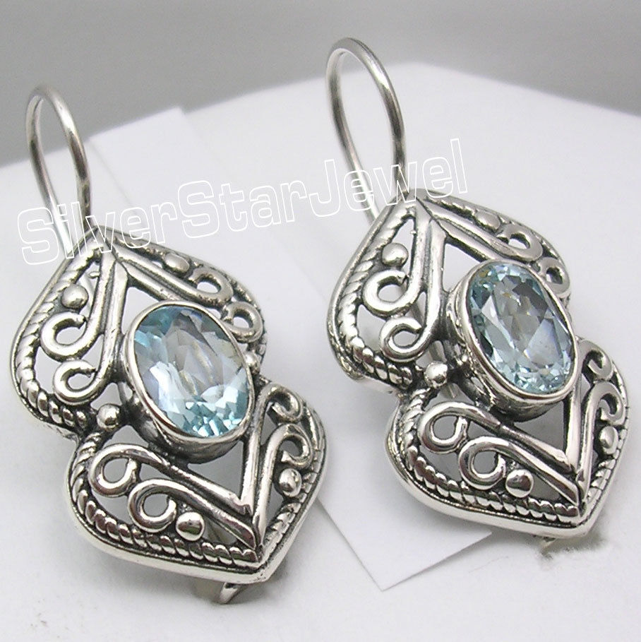 Chanti International Pure Silver BLUE Topas Antique Style Women's Jewellery Earr