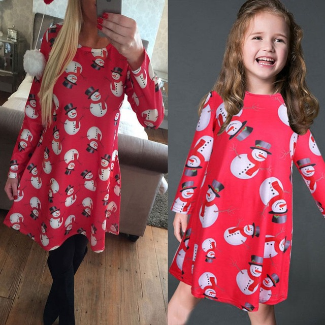 b6cbf8838f540 2017 Family look Christmas Dress Mother Daughter Dresses Family Matching  Clothes Mom Family Long Sleeve Print Dresses Outfit