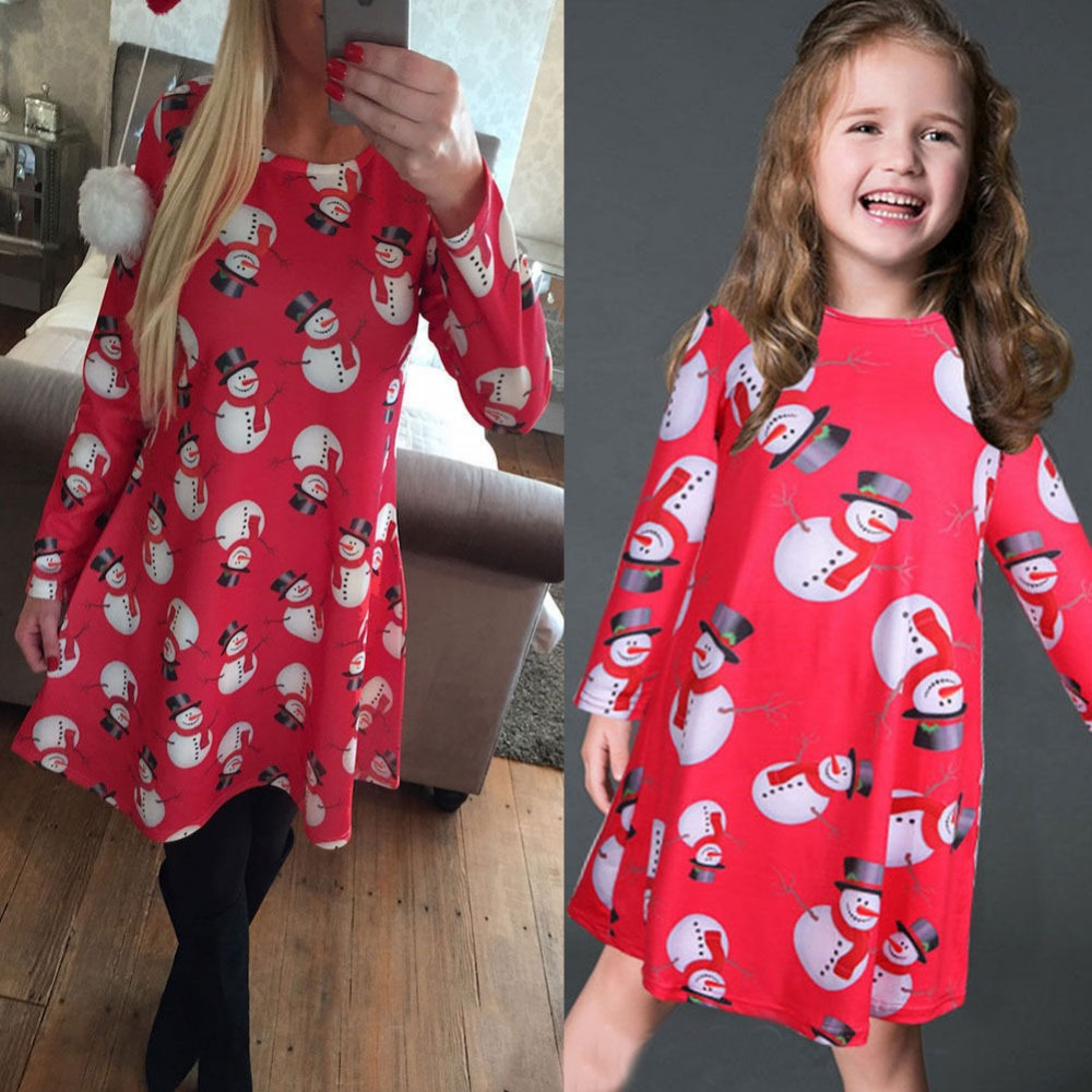 Where to buy christmas dresses - 2017 Family Look Christmas Dress Mother Daughter Dresses Family Matching Clothes Mom Family Long Sleeve Print
