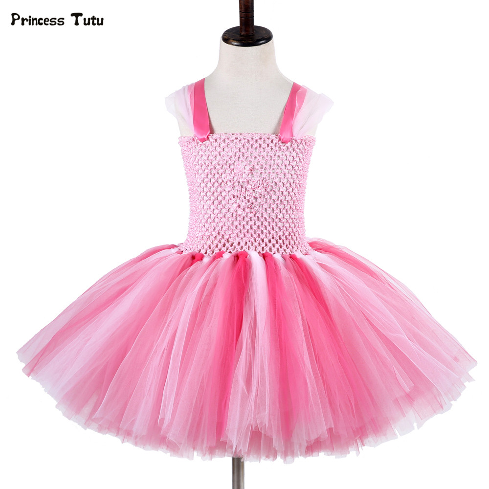 Baby Girls Cartoon Pig Tutu Dress Christmas Halloween Cosplay Costume Pink Kids Princess Dress Girl Birthday Party Tulle Dresses gorgeous pink and white girls tutu dress with headband princess birthday party wedding costume photo props tulle dress ts110
