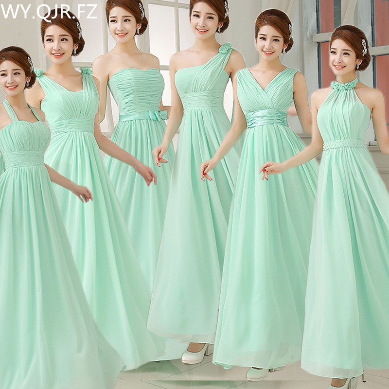 W150#Wholesale Custom Made Chiffon Green Blue Wine Red long lace up   Bridesmaid     Dresses   Wedding Party   Dress   Prom Gown women cloth
