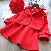 Winter Christmas Coat 3PCS Set Toddler Girls Dress Clothing Sets Baby Skirt Dress + Warm Coat + Cap Kids Red clothin3 8 years