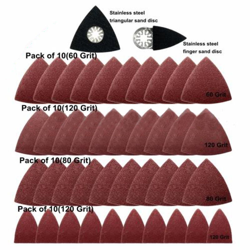 40pcs Triangular Sanding Paper + 2pcs Sanding Disc Abrasive Tools For Fein Bosch Multitool Woodworking Plastics Fiberglass