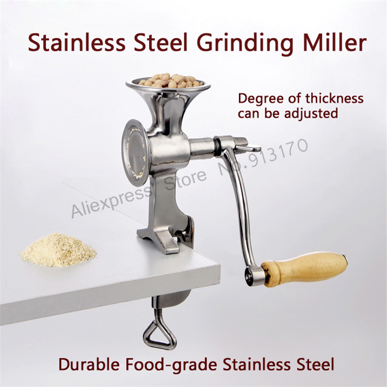 Fresh Ground Coffee Grinding Miller Stainless Steel Flour Mill Pulverizer Wheat Corn Flour Kitchen Ware Tool stainless steel grinding miller manual corn grinding machine coffee bean flour mill with hand crank