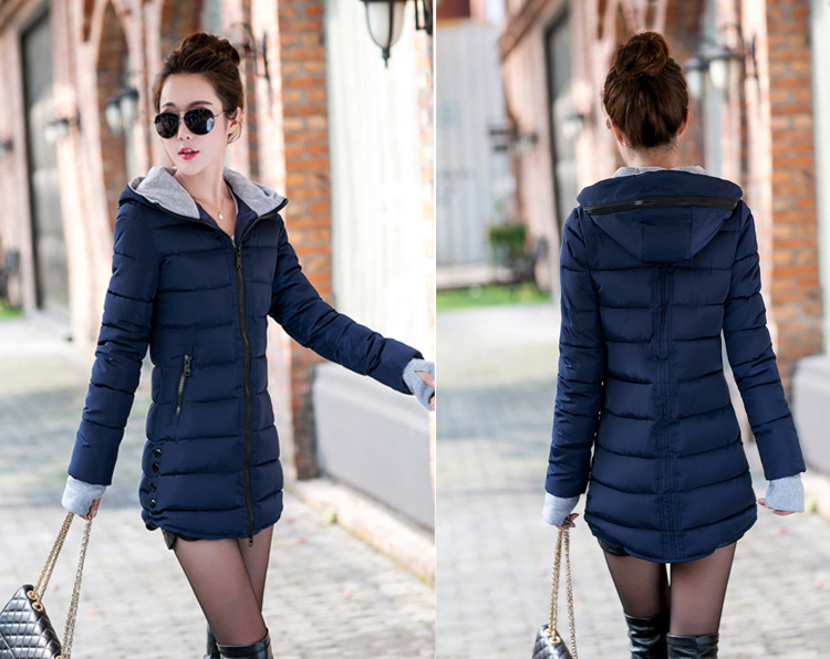 HTB1 4zvXzJTMKJjSZFPq6zHUFXaJ 2019 women winter hooded warm coat slim plus size candy color cotton padded basic jacket female medium-long  jaqueta feminina