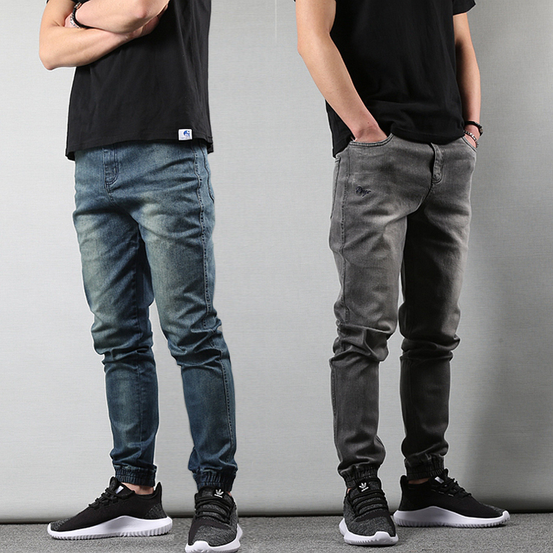 Japanese Style Fashion Mens Jeans Gray Color Slim Fit Tapered Trousers Hip Hop Jogger Jeans Men Vintage Design Denim Cargo Pants