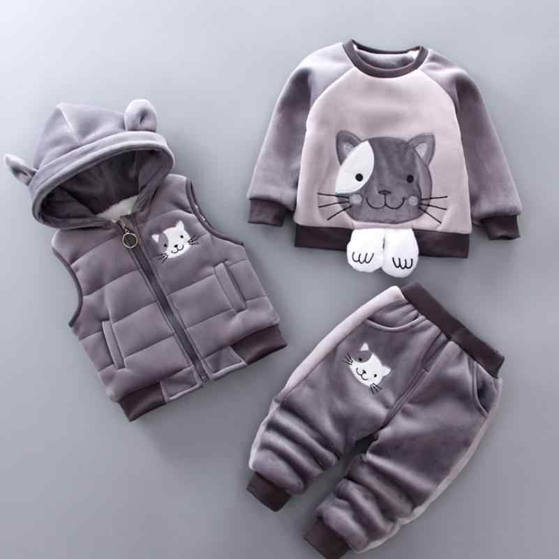 Теплый комплект для маленьких мальчиков и девочек, зимний утепленный жилет с капюшоном с рисунком кота + свитер + штаны, спортивные костюмы из трех предметов одежда для детей