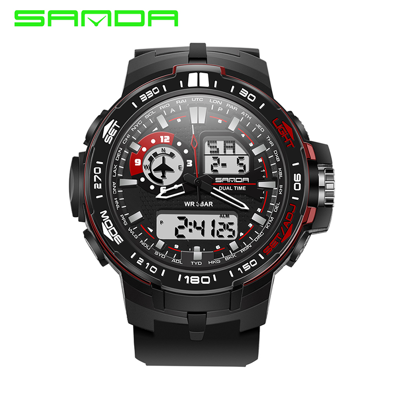 SANDA Brand Men's Sports Watches Fashion Outdoor Waterproof Military Wristwatches LED Digital Watch Clock Men Relogio Masculino