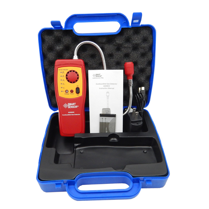 AS8800(with box) Digital combustible gas analyzer hand-held port flammable gas Leak Detector with Sound Light Alarm+Battery high sensitivity combustible gas leak detector natural gas with sound and light alarms multifunction gas analyzer