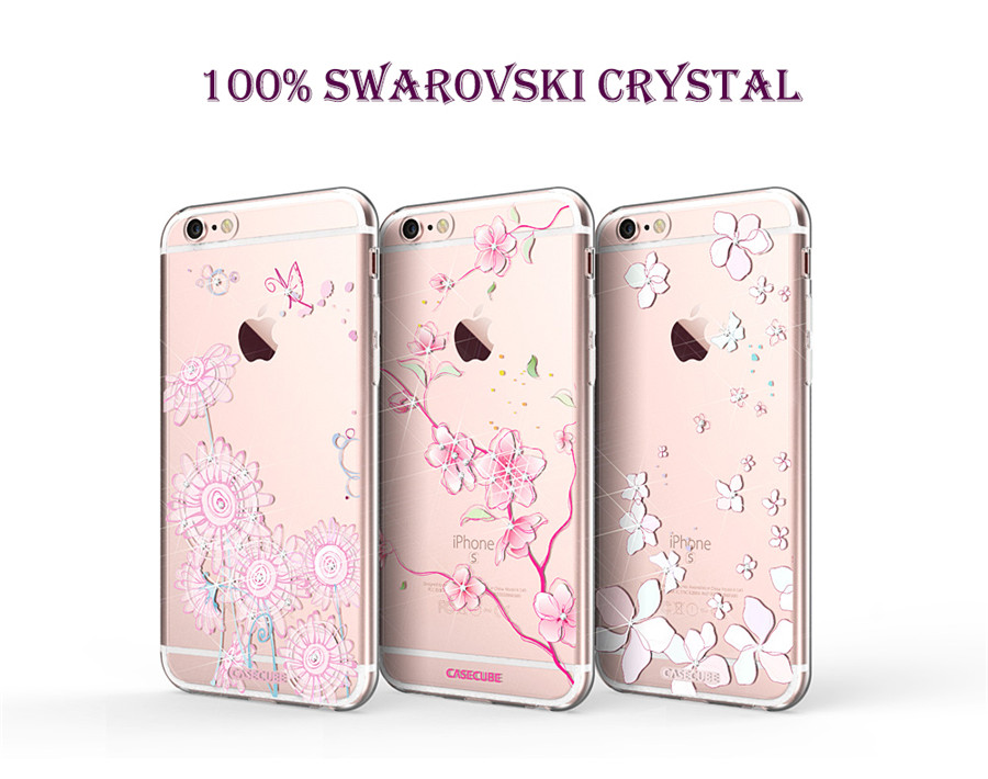 Flower Fragrance Swarovski Crystal TPU Clean Women Girls Phone Case for  iPhone 6 6s 6 Plus 6s Plus Free Tempered Glass FilmTC016 904285df0417