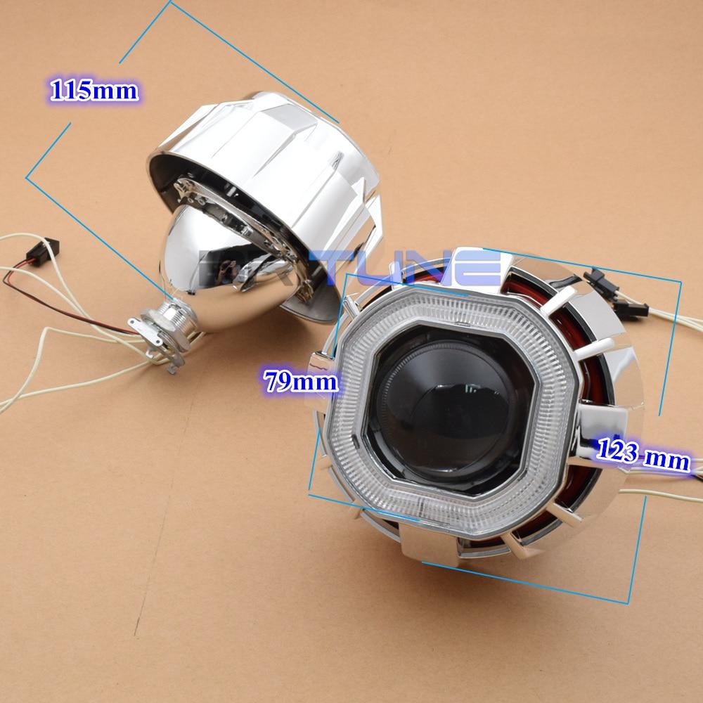 2.5 ''carré double CCFL Angel Eyes H1 HID bi-xénon projecteur lentille feux de jour pour H4 H7 voitures Auto phare modification - 4