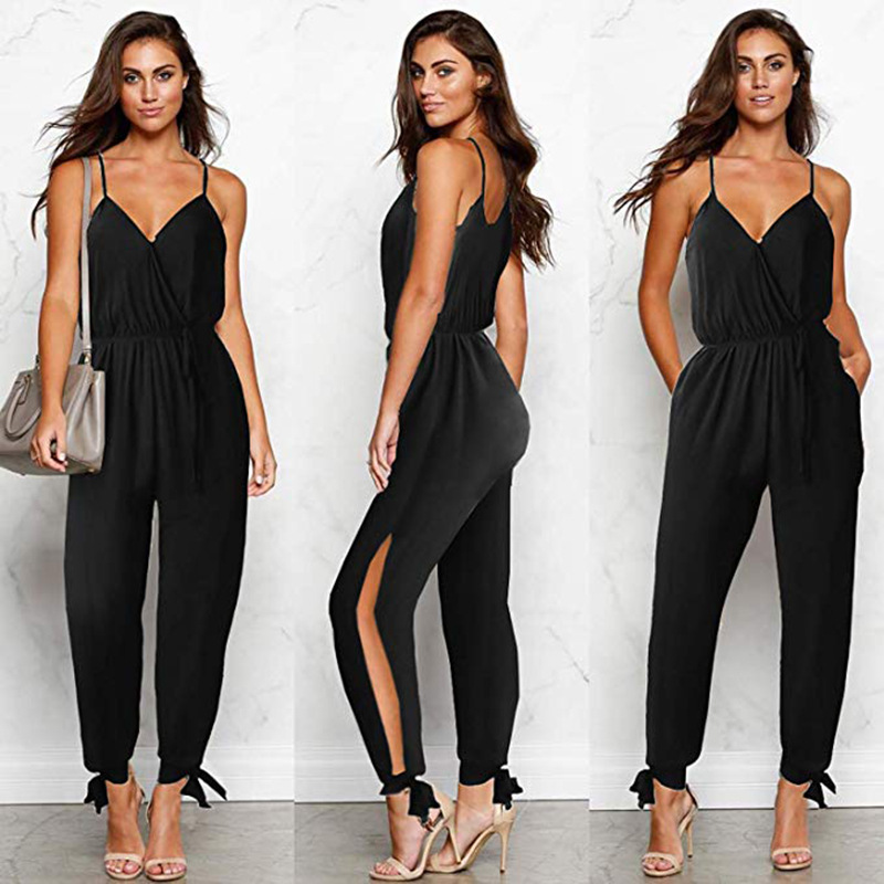 Sexy Deep V-Neck Backless Off Shoulder   Rompers   Women Lace Up Drawstring Cotton Long Pants 2019 Summer Black Plus Size Jumpsuits