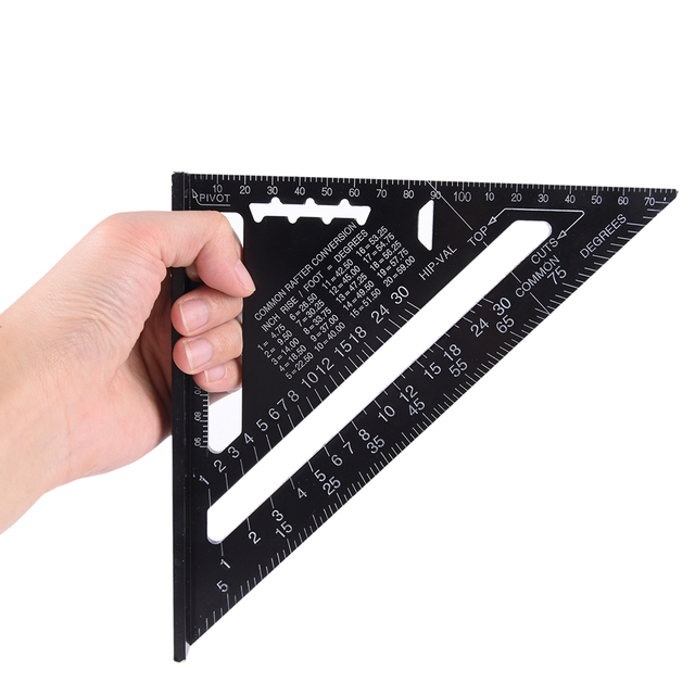 7inch Metric Aluminum Alloy Triangular Ruler Double Scale Miter