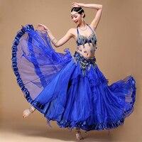Performance Belly Dance Costume Outfit Plus Size Cup C D 3PCS Bra Belt Skirt Long Oriental
