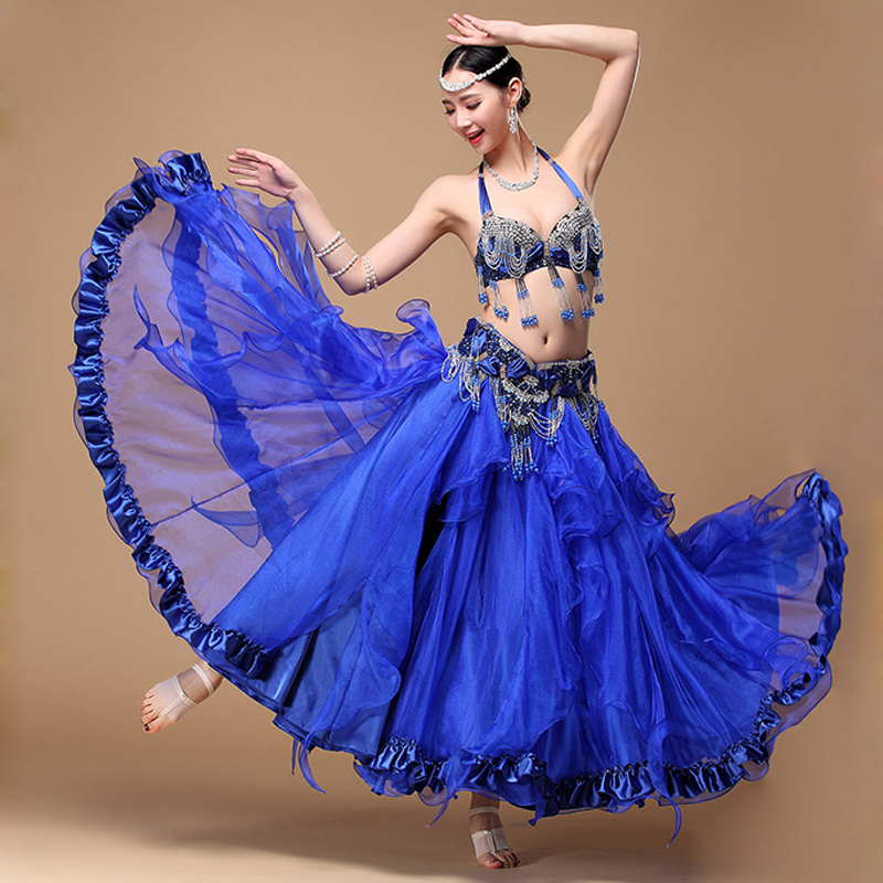4cd45e4223b1 2018 Performance Belly Dance Costume Outfit Plus Size Cup C/d 3pcs Bra Belt  Skirt Long Oriental Beaded Belly Dance Costume