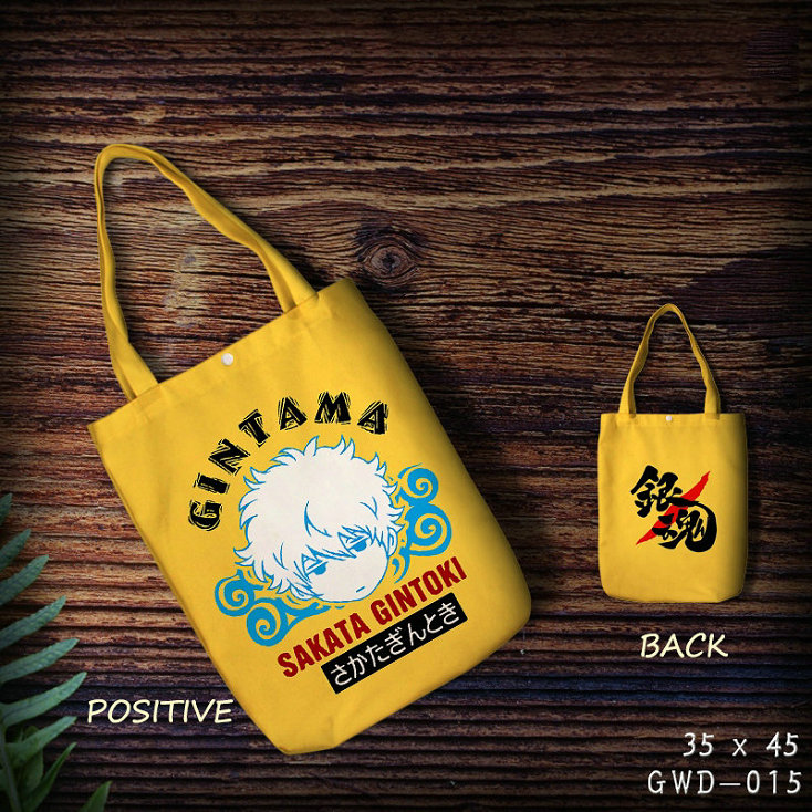Купить с кэшбэком 2018 Hot Sale Gintama Sakata Gintoki Cute Anime Cartoon Cotton Bag Foldable Shopping Customized With Own Logo Wholesale Grocery