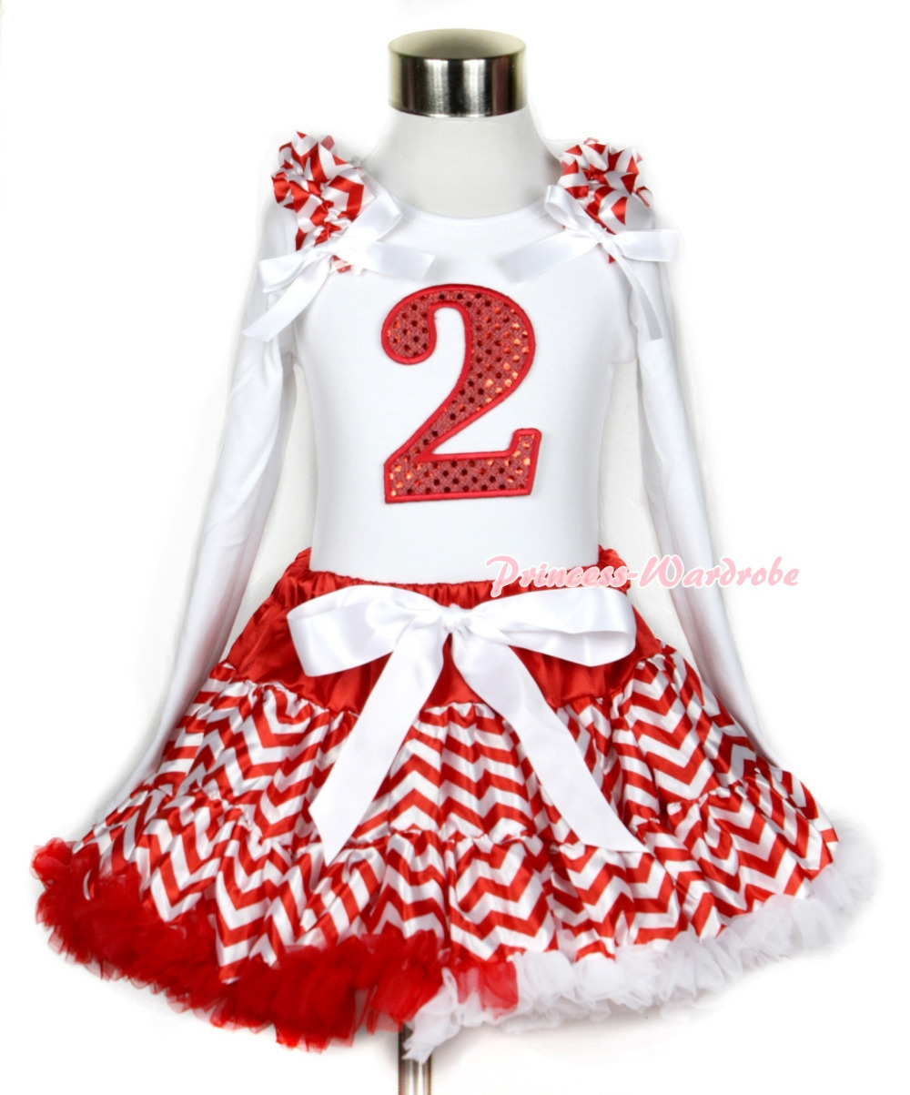Xmas Red White Wave Pettiskirt 2nd Sparkle Red Birthday Print White Long Sleeve Top Red White Wave Ruffles White Bow MAMW287 red black 8 layered pettiskirt red sparkle number ruffle red bow tank top mamg575