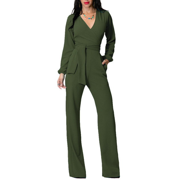 ae2b9d9fef4 Autumn Jumpsuits For Women 2018 Long Pants Wide Leg Jumpsuit Long Sleeve V  Neck Overalls Casual One Piece suit Street Rompers