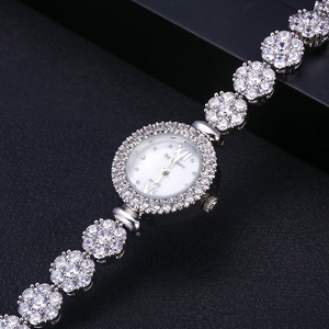 Image 3 - jankelly  Qualtiy AAA Zircon Elements Leaf Austrian Crystal Bracelet Watch for Wedding Party Fashion Jewelry Made with Wholesale