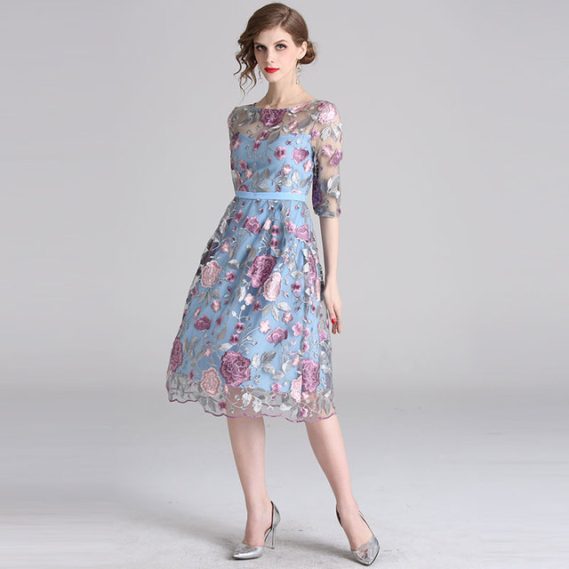New Spring Luxury Floral Embroidery Party Dress