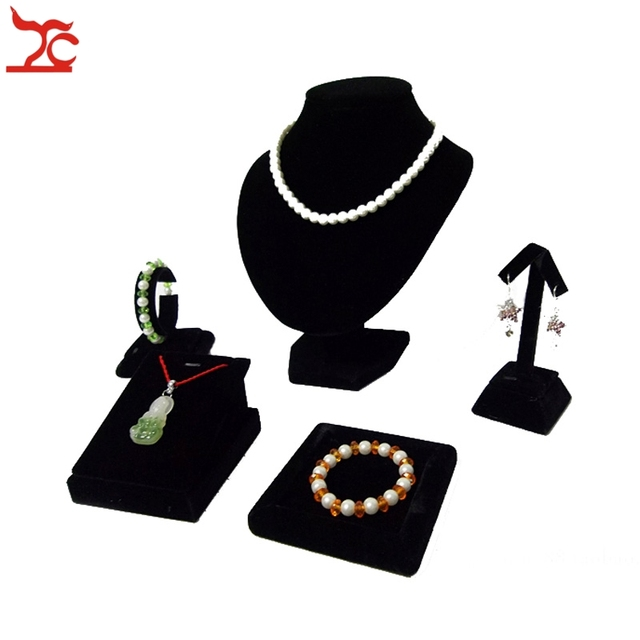 Black Velvet Earring Display Stand 41Pcs Black Velvet Jewelry Display Rack Necklace Bust Pendant 32