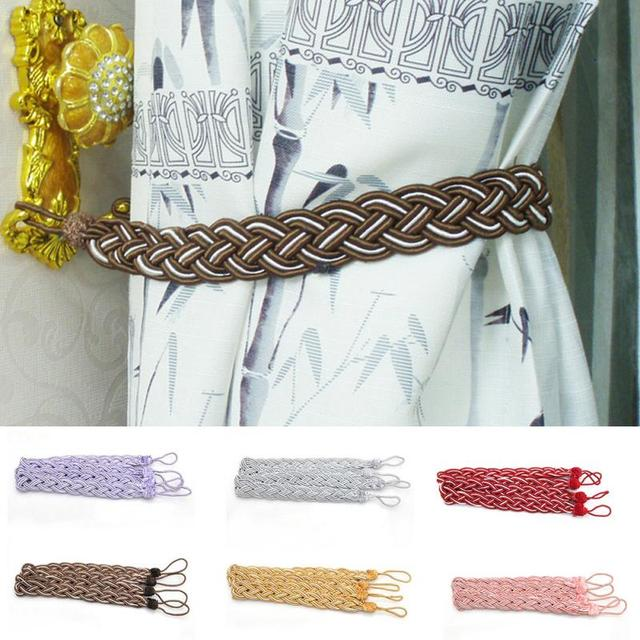 1 Pair Good Quality Curtain Knitted Tiebacks Braided Holdbacks Window Drapery Hooks Tie Backs