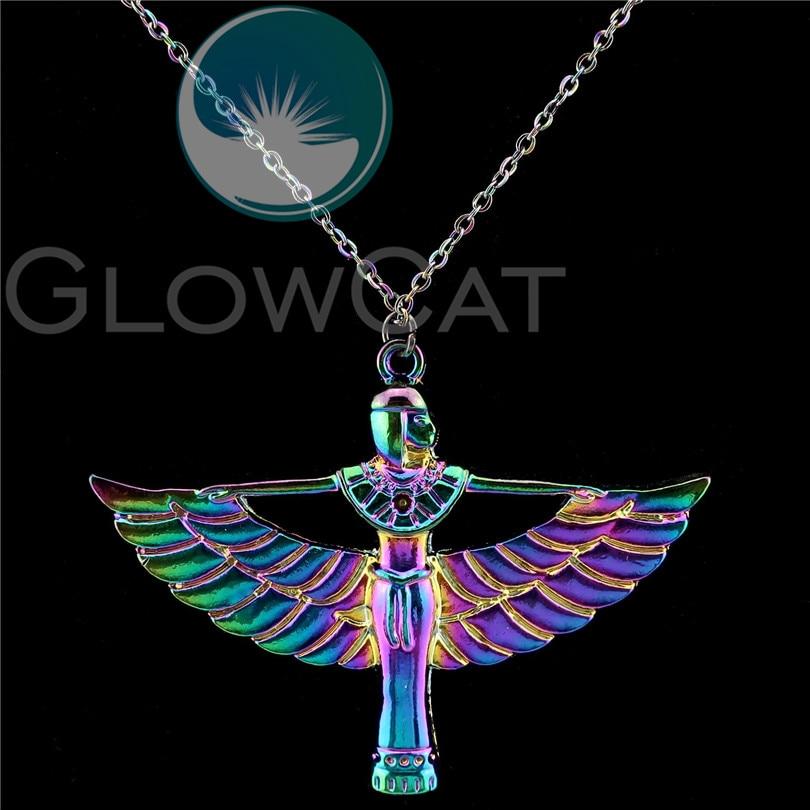 Rainbow Colors Egyptian Goddess Isis Ancient Egypt God Winged