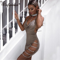 Colysmo Women Sexy Halter Crystal Sequin Dress Backless Metallic Diamond Bandage Club Bodycon Dress Party Christmas