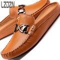 Sandalias de los hombres zapatillas zapatos de cuero sin espalda pedal Doug media marea-lazy summer Sandals Hombre