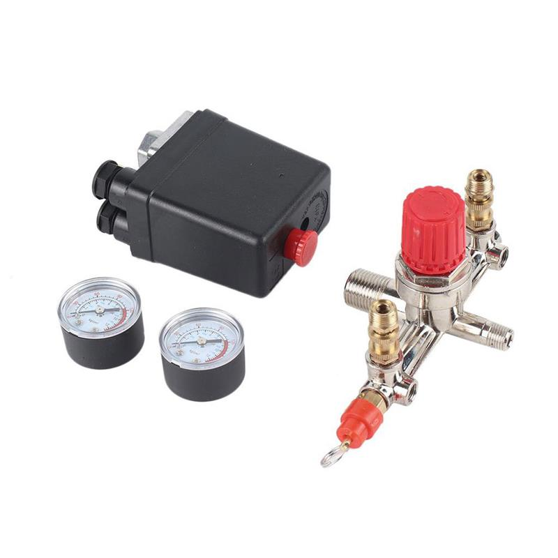 7.25-125 PSI Small Air Compressor Pressure Switch Control 15A 240V/AC Adjustable Air Regulator Valve Compressor Four Holes7.25-125 PSI Small Air Compressor Pressure Switch Control 15A 240V/AC Adjustable Air Regulator Valve Compressor Four Holes