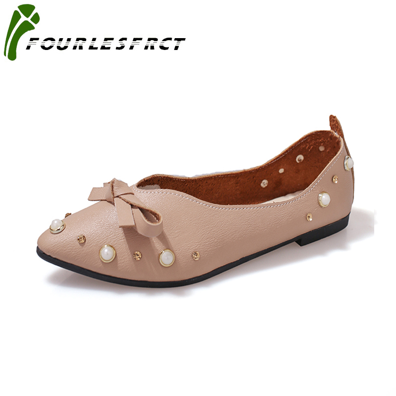 2017 Women shoes Flats Slip On PU Fabric Casual Shoes Comfortable Pointed Toe Flat Shoes Woman  Size 35-41 White  Brown  Beige pu pointed toe flats with eyelet strap