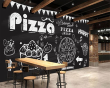 beibehang Custom 3d wallpaper mural Hand drawn pizza cake coffee Coffee shop decoration 3d wall paper papel pintado pared цена 2017