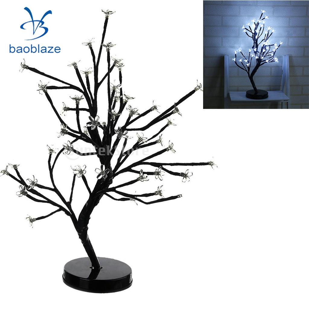 2Pcs Battery Powered 48-led Cherry Plum Blossom Flower Tree Lamp Ambient Light Happy Valentine Fairy Light White led battery plum blossom flower tree night light adjustable waterproof atmosphere decorative lamp bedroom wedding holiday light