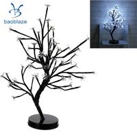 2Pcs Battery Powered 48 led Cherry Plum Blossom Flower Tree Lamp Ambient Light Happy Valentine Fairy Light White