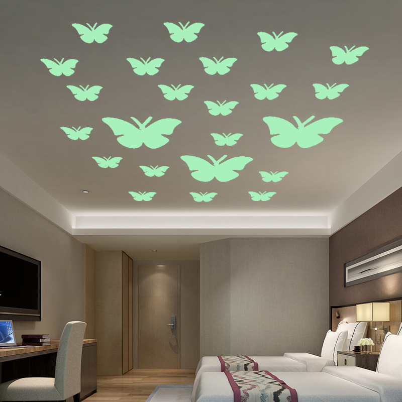 Free Shipping Glowing Wall Decals Nordic Style Shining Butterfly Stickers For Livingroom Dining Hall Bathroom And Kid`s Room
