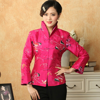 New Style Hot Pink Women Satin Jacket Chinese Embroidery Coat Butterfly Pattern Outwear Tops S M