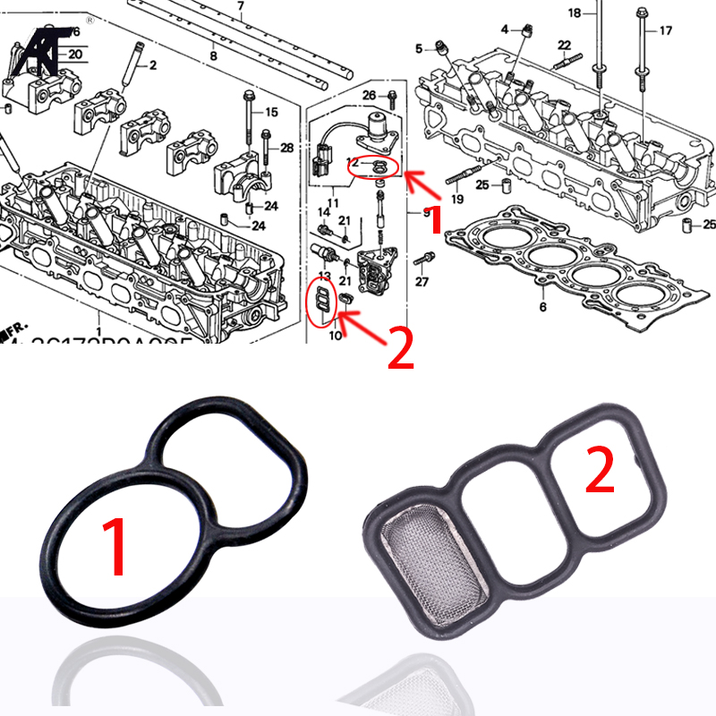 Upper + Lower Spool Valve VTEC Solenoid Gasket Filter Seal O-Ring For Honda Accord Acura CL 15825-P0A-005 36172-P0A-005