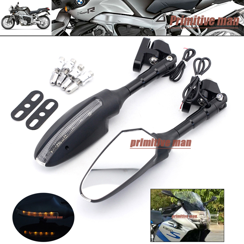 ФОТО For BMW K1200S 05-07/ K1300S 09-15 Motorcycle Adjustable Side Rearview Mirror with LED Turn Signal Light
