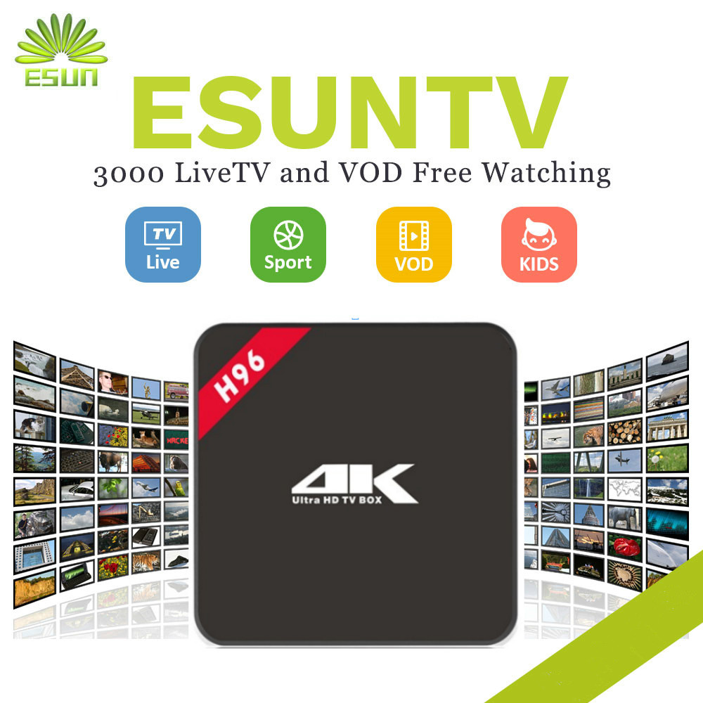 1 Year IPTV included H96-ESUNTV RK3229 Europe IPTV Spain Portugal Germany United Kingdom Albania ex-yu XXX IPTV Set Top Box italy iptv a95x pro voice control with 1 year box 2g 16g italy iptv epg 4000 live vod configured europe albania ex yu xxx