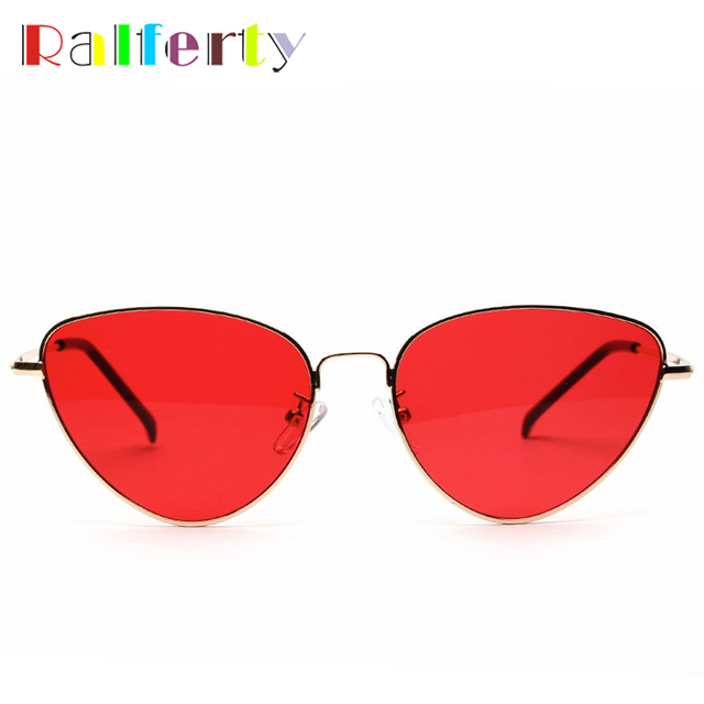 a6bb9a9675bd ... Ralferty 2017 Vintage Cat Eye Sunglasses Women Gold Metal Eyewear UV400 Sun  Glasses Female Red Candy ...