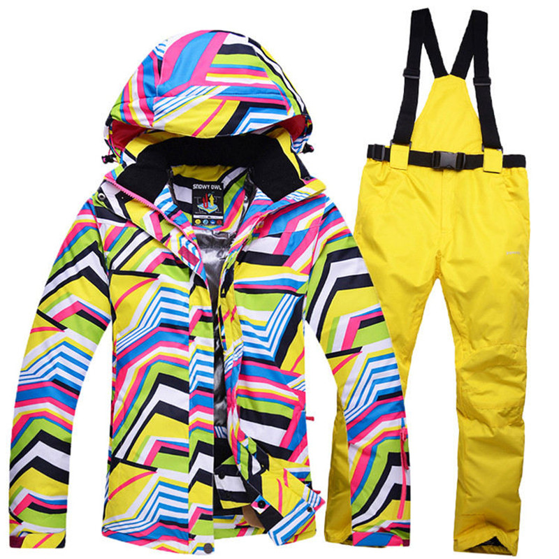 Cheap winter Snow Ski suit Sets Zebra crossing Women snowboard clothing windproof waterproof outdoor sports Skiing jackets+pants