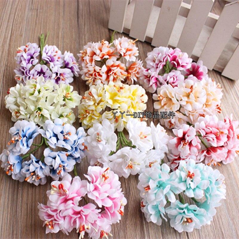 Дешевые 6 шт. шелк градиент тычинки, искусственные букет для Свадебные украшения DIY Скрапбукинг декоративный венок поддельные цветы