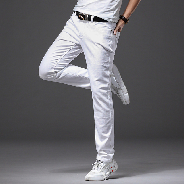 Men's White Jeans Fashion Casual Classic Style Slim Fit