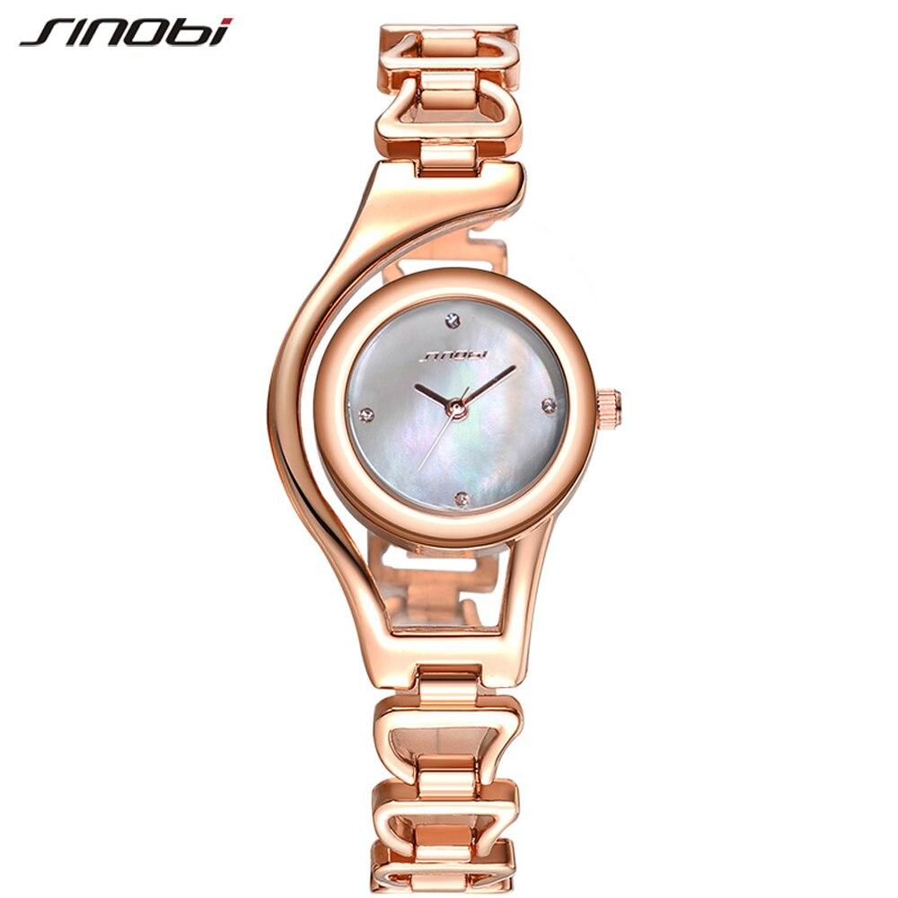 Prix pour Sinobi montre femmes robe quartz montre-bracelet pour femme rose d'or dames bracelet montres de luxe montre femme 2017